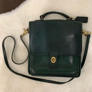 Vintage Coach Willis Station Green Leather